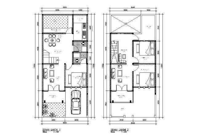 denah rumah minimalis 2lantai type 45 gusty arsitektur